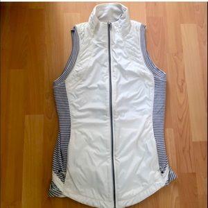 Lululemon white and grey striped running vest
